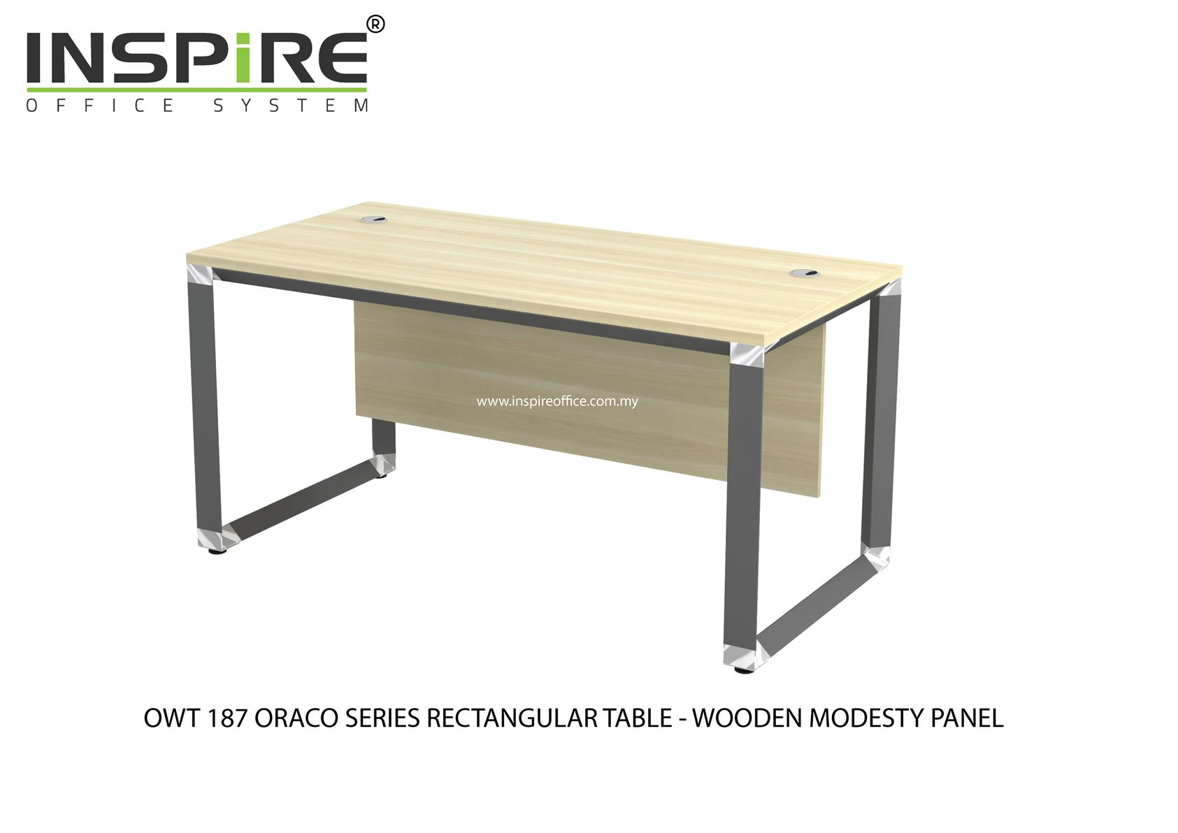 OWT 187 ORACO SERIES RECTANGULAR TABLE-WOODEN MODESTY PANEL
