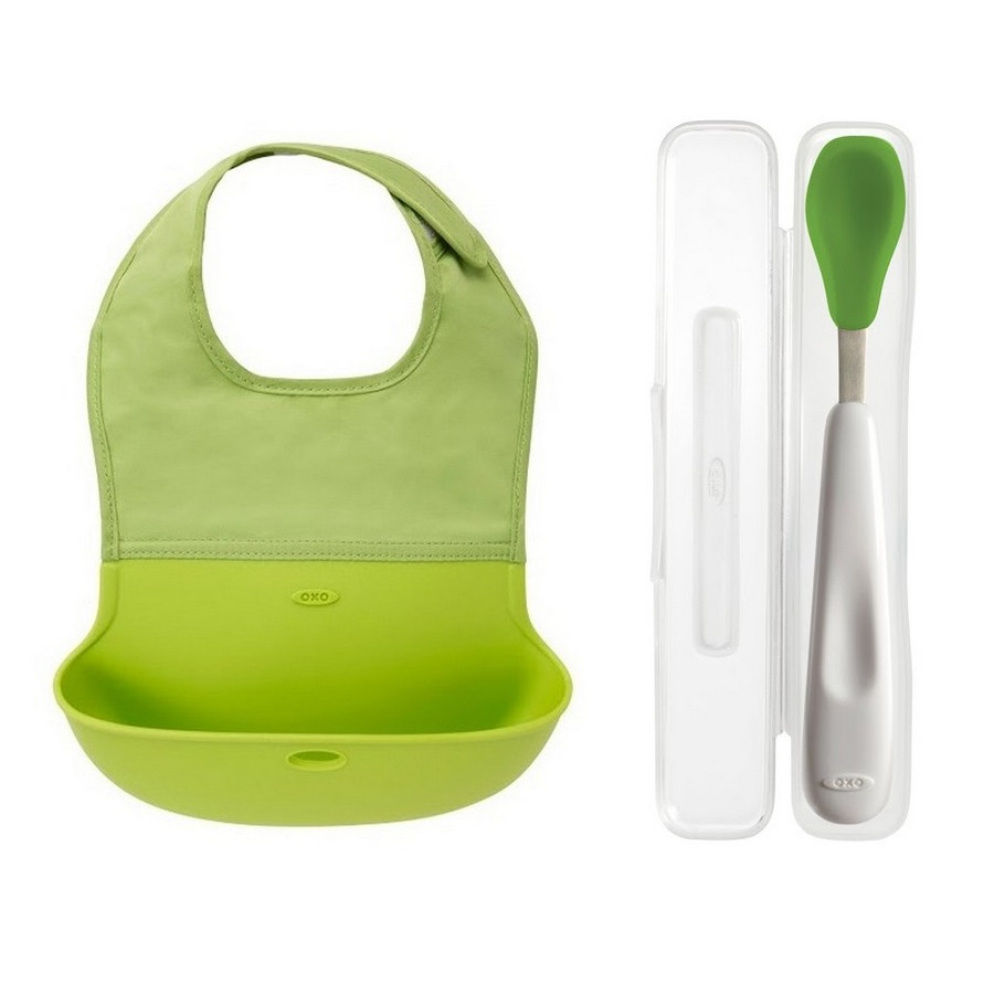 Oxo Tot On The Go - Roll Up Bib and Silicon Spoon with Cover - Green