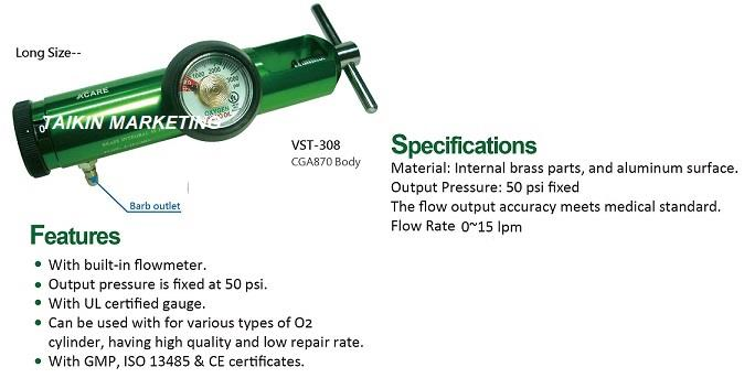 Oxygen Regulator Click Style Long Size Barb Outlet CGA870 VST-308