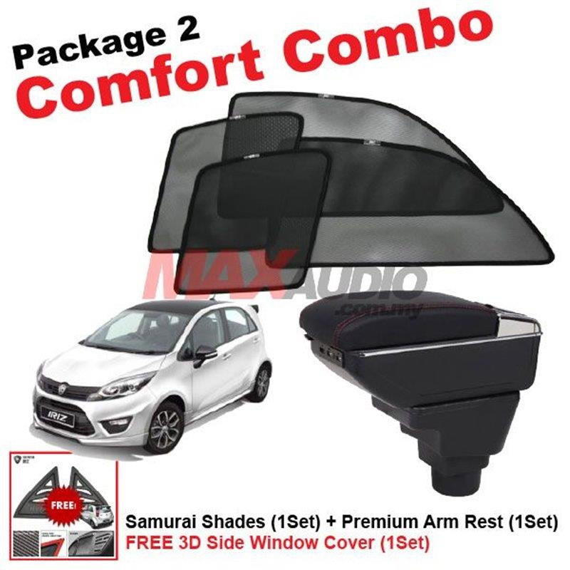 [P2] PROTON IRIZ (4pcs) SAMURAI SHADES + (1set) Premium Arm Rest