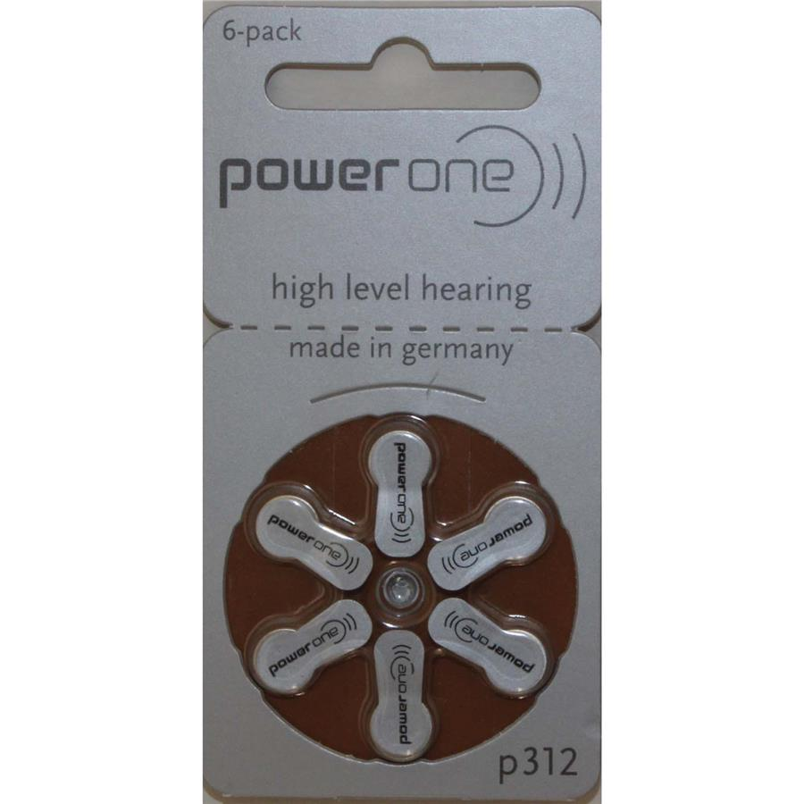 P312 PowerOne Zinc Air 1.45V Hearing Aid Battery - Pack of 6