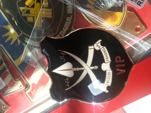 Pahang Black Rear Car Badge Emblem Gold Plated with VIP Wording