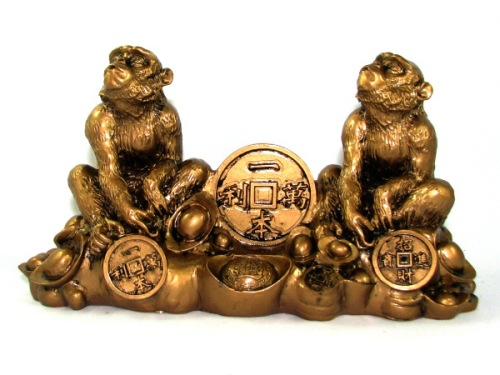 Pair of Monkeys with Treasure for Prosperity Luck CNY 2016 home decor