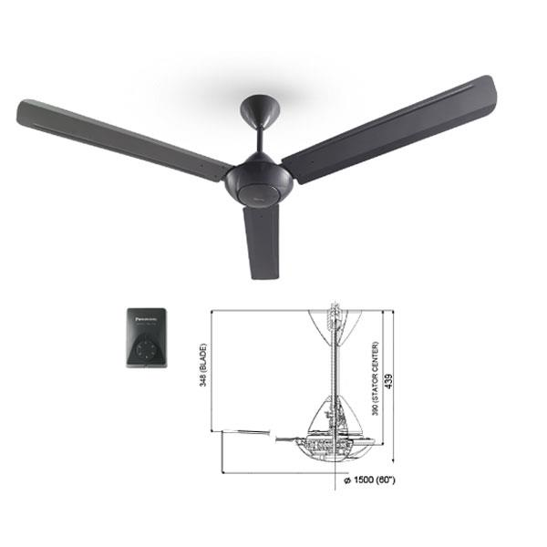 PANASONIC F-M15A0-GY CEILING FAN GREY BLACK 60'' 60 inch 3 BLADE