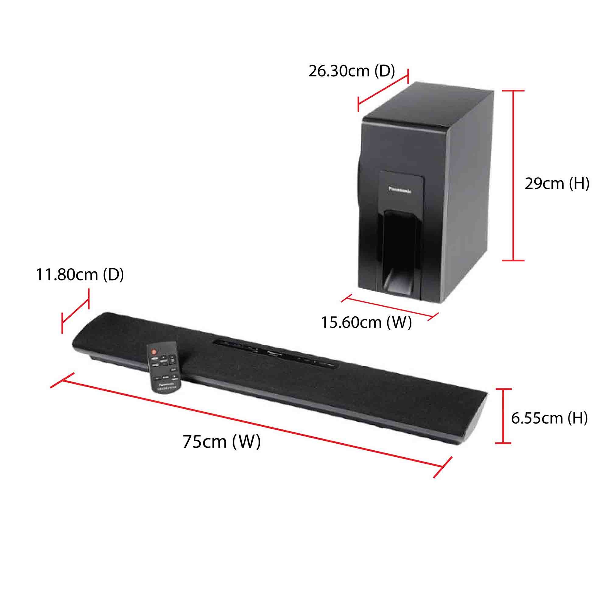 Panasonic Sound Bar Sc Htb18 120w 2 1ch Digital Audio Input