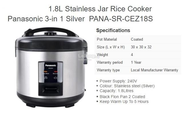 Panasonic Stainless Steel 1.8L Rice Cooker SR-CEZ18 Silver