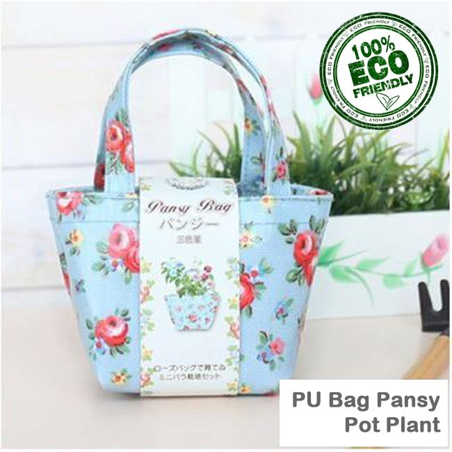Pansy Cultivation in PU Fashion Bag DIY Table Pot Plant