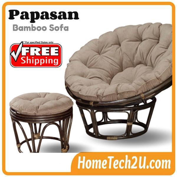 Papasan Bamboo Sofa Chair With Stool Free Shipping
