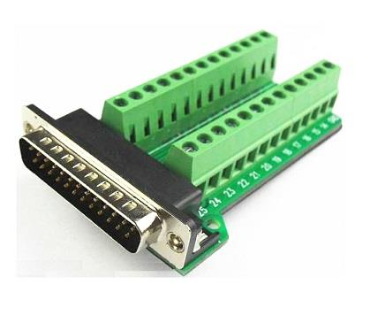 Parallel DB25 Male DSUB 25pin to Terminal Board Connector