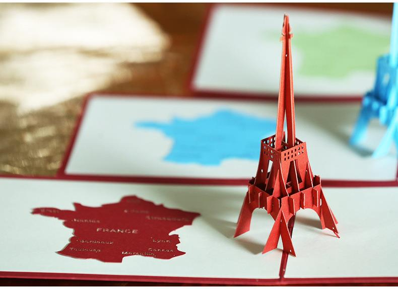 Paris Eiffel Tower 3D Card