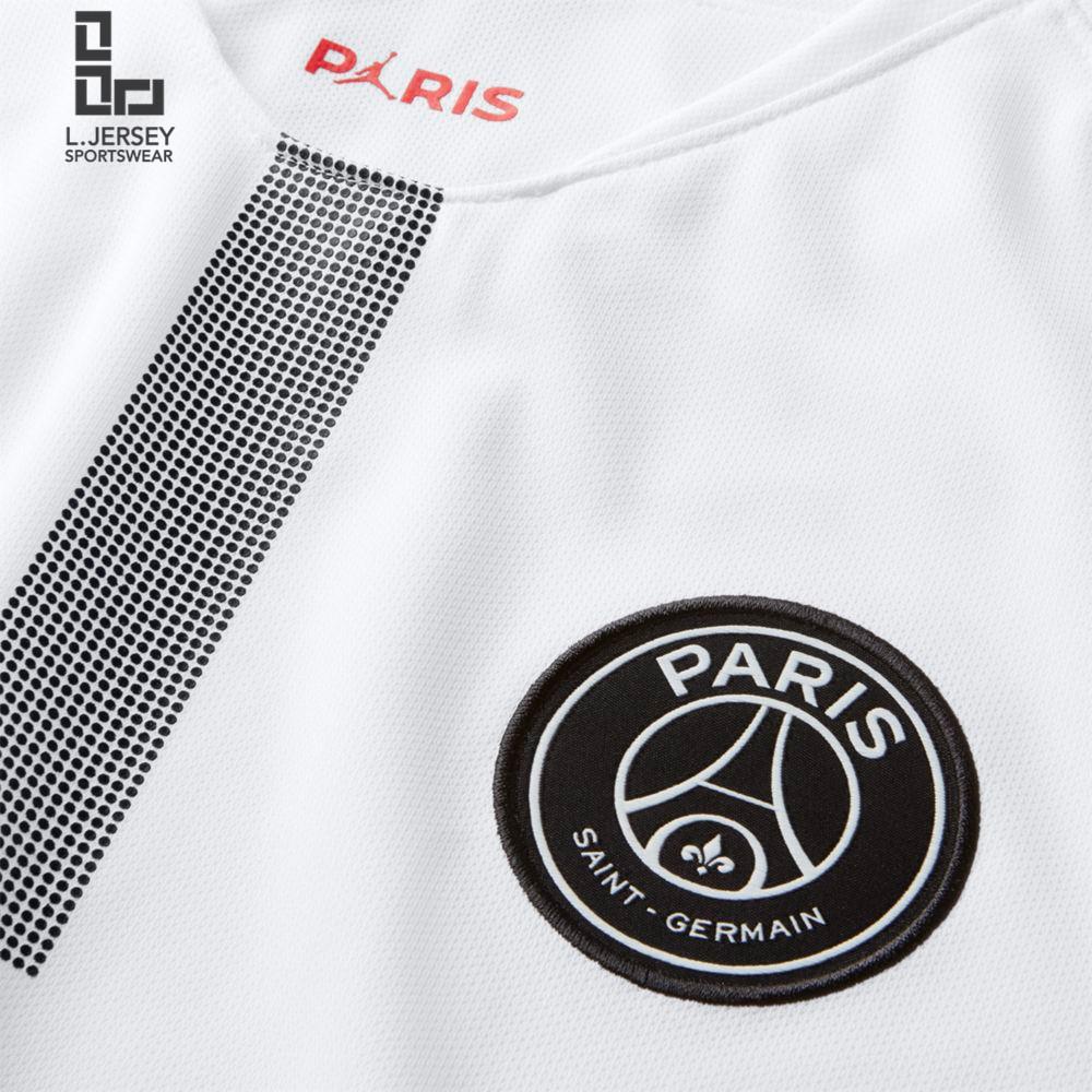 b634542fc Paris Saint-Germain x Jordan White Men 3rd 2018 19 Fans Jersey