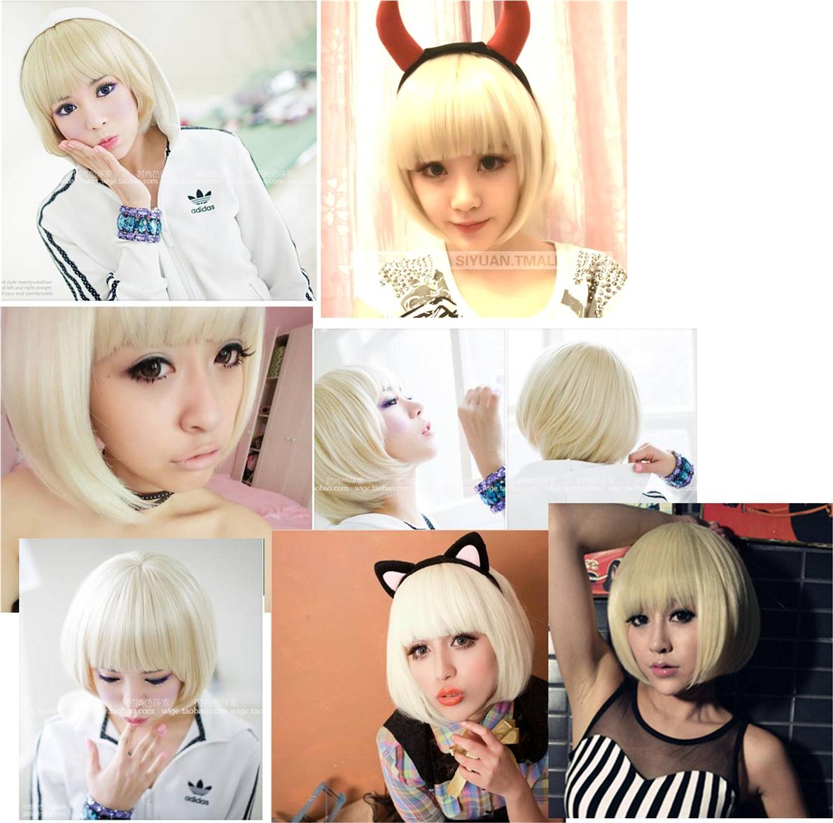 Party Cosplay Blonde short wig *ready stock-rambut palsu