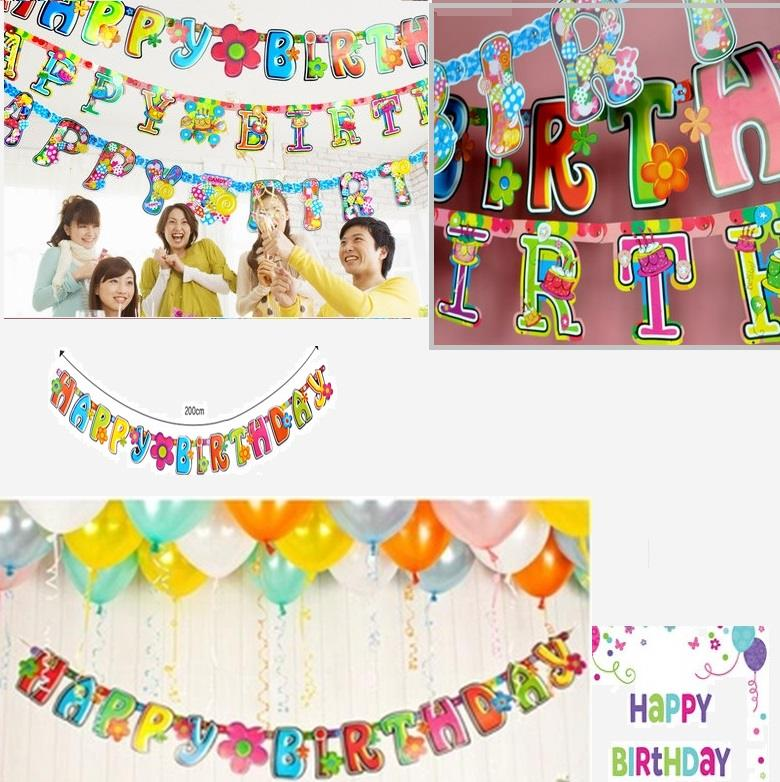 party decorations happy birthday letter banner reusable