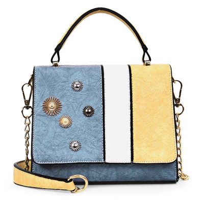Patchwork Small Handbag Women PU Leather Chain Flap Shoulder Crossbody..