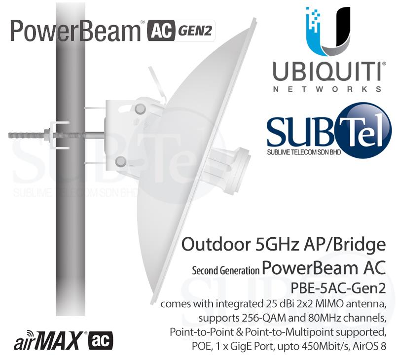 PBE-5AC-Gen2 Ubiquiti PowerBeam AC 5 GHz Licensefree Radio Bridge UBNT