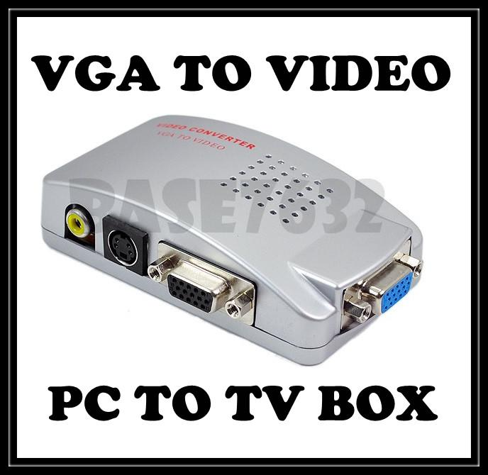 PC VGA to TV  AV RCA Signal Adapter Converter Video Switch Box 1113.1
