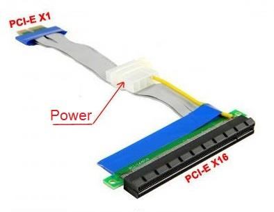 PCIe 1x to PCI-e 16x Flex Cable Riser Extension Card with 4p Power