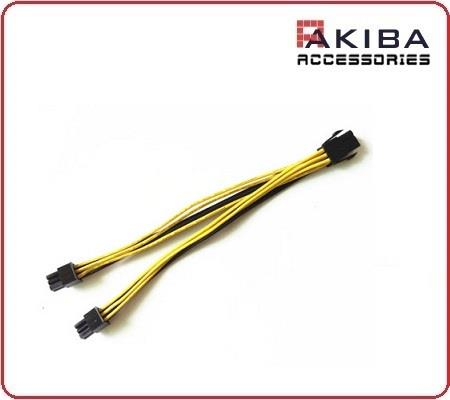 PCIe 6Pin F to Dual 6Pin M Y-Split Power Cable for Video Card