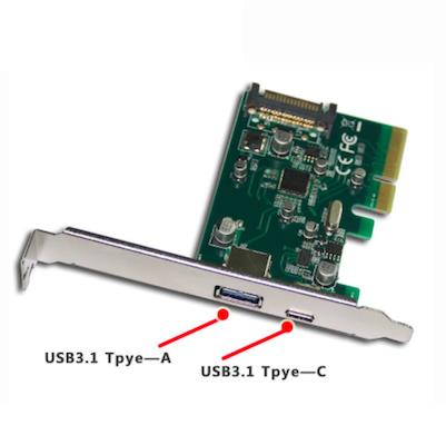 PCIe USB3.1 Type-C 1-port & USB3.0 Type-A 1-Port Card