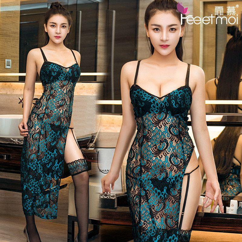 Peacock Emboidery Sexy Backstrap Long Dress Chinese Sleepwear MS303