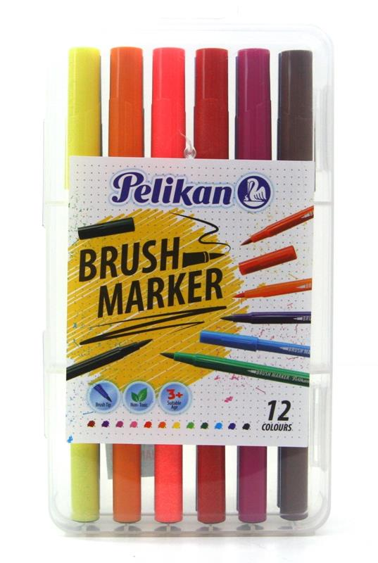 Pelikan Brush Marker 12 Colours For Colouring & Painting