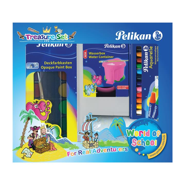 Pelikan Treasure Set Opaque 12 colours,Wax Crayon,Paint Apron