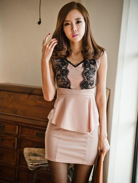 Peplum Dress 12857 -Pink