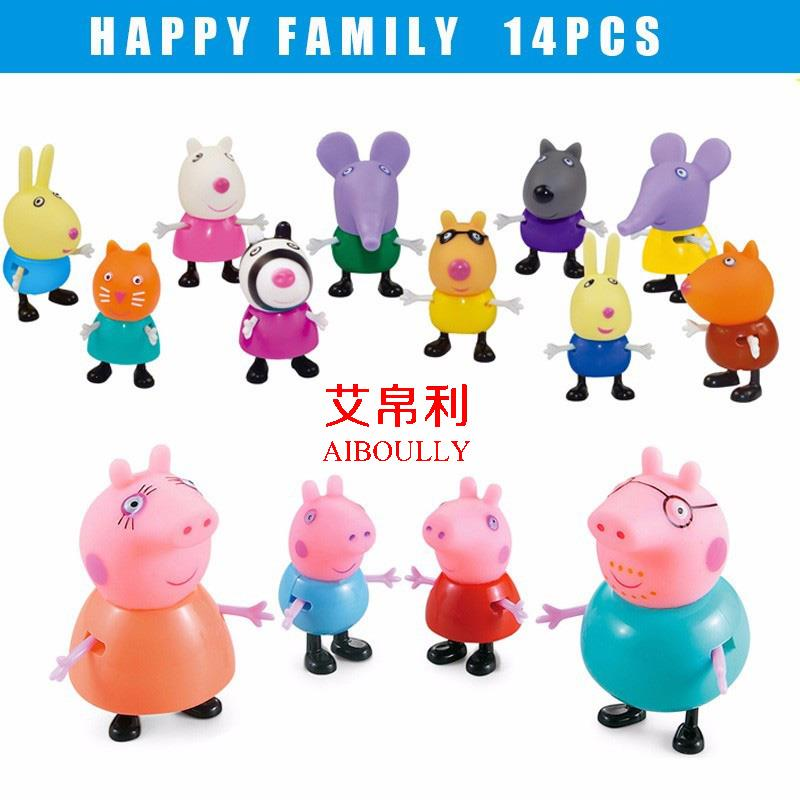 Peppa Pig Family And Friends Mini Figures With Moveable Limbs 14pcs