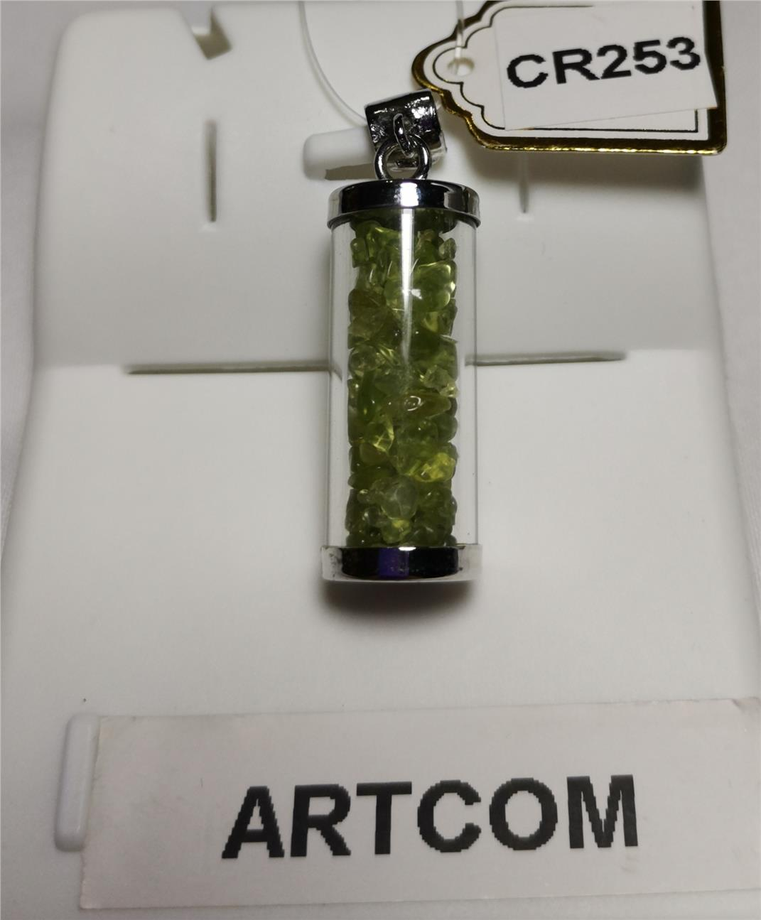 Peridot Chip In Cylinder Pendant (12*32mm)