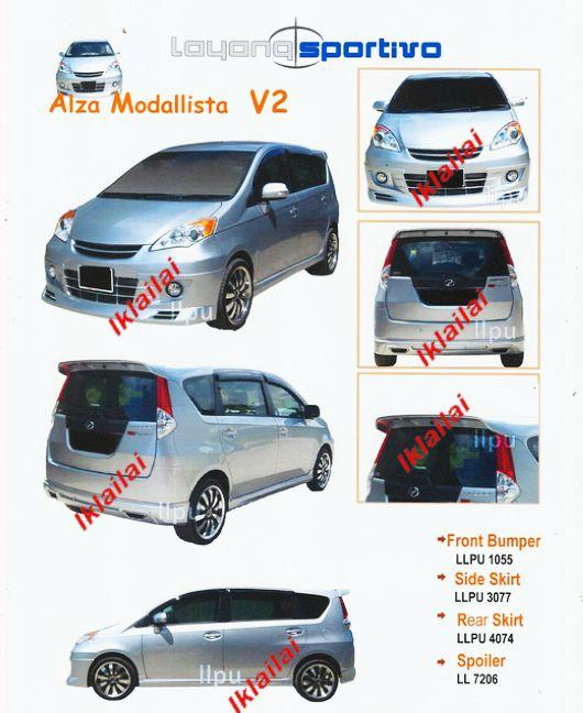 Perodua Alza Modallista V2 Style Full Set Body Kit [Bumper/Skirt]