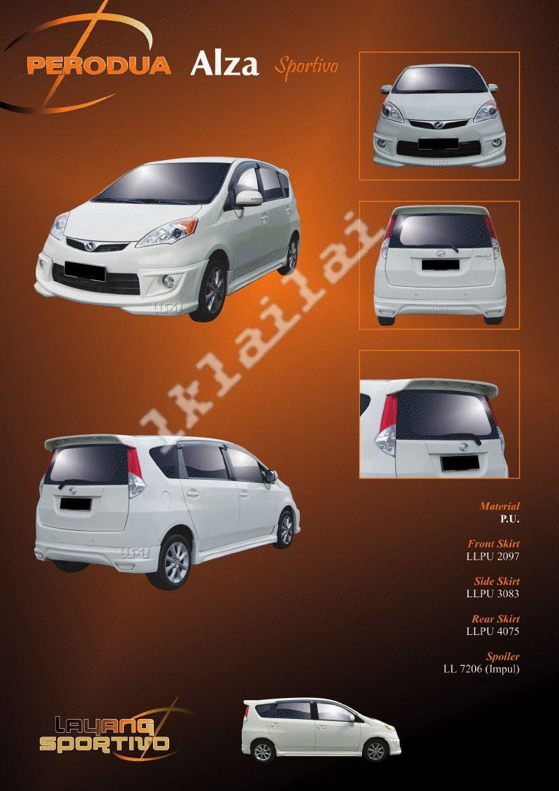 Perodua Alza Sportivo Style Full Set Skirting Body Kit PU Material
