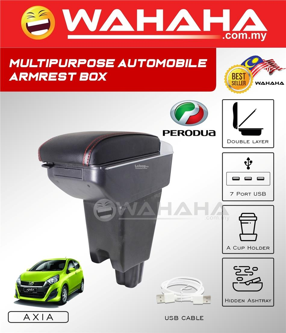 PERODUA AXIA 7 USB Port 2 Layer Adjustable PVC Red Stitching Armrest