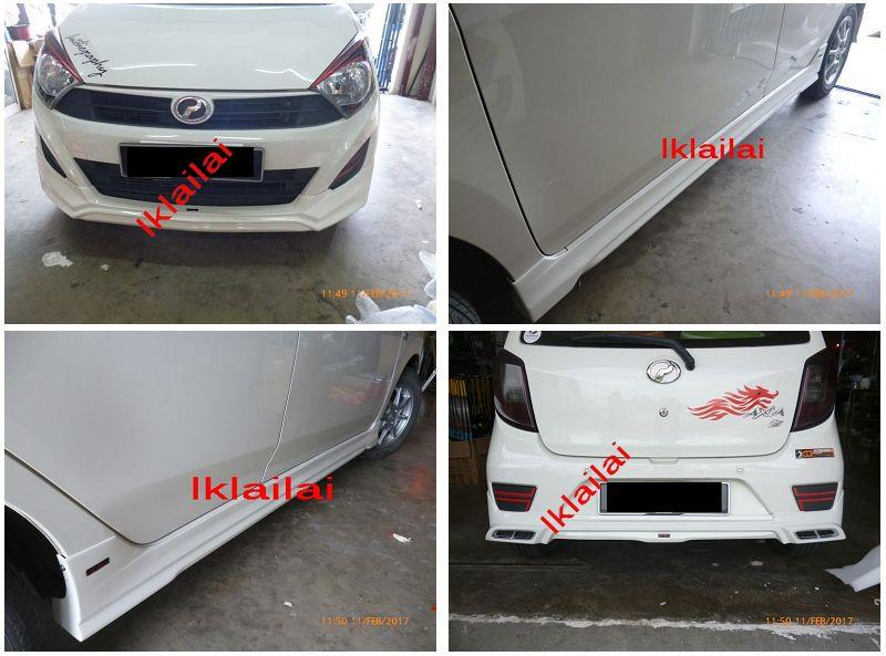 Perodua Axia Air Master Body Kit Full Set Skirting Painted