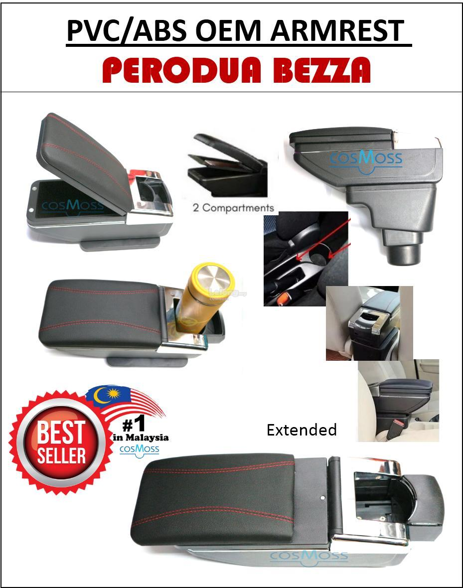 Perodua Bezza PVC Car Armrest Red Line With Drink Holder