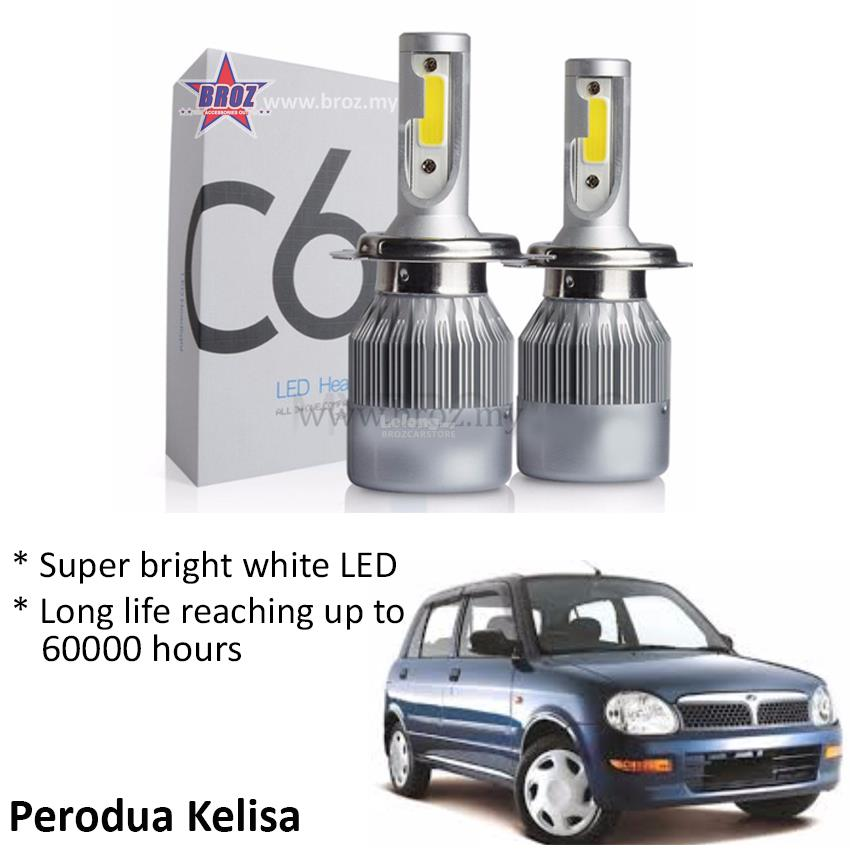 Perodua Kelisa Head Lamp C6 LED Light Car Auto Head light Lamp 6500K