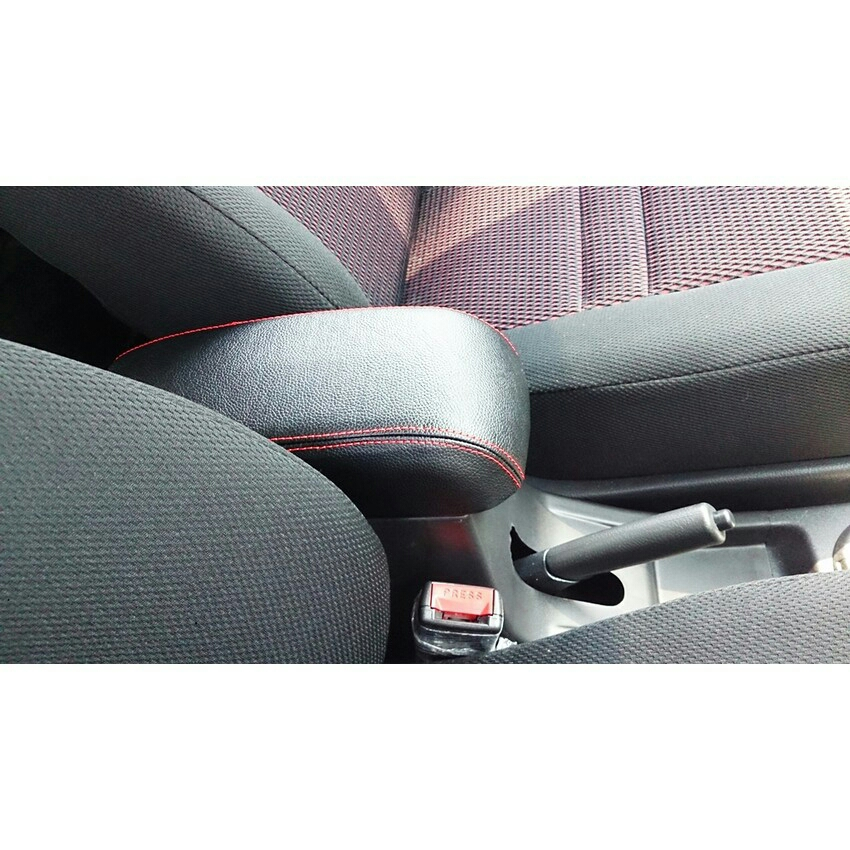 Perodua Myvi 05-17 / Alza 09-17 Arm Rest (Black Leather Red Stitching)