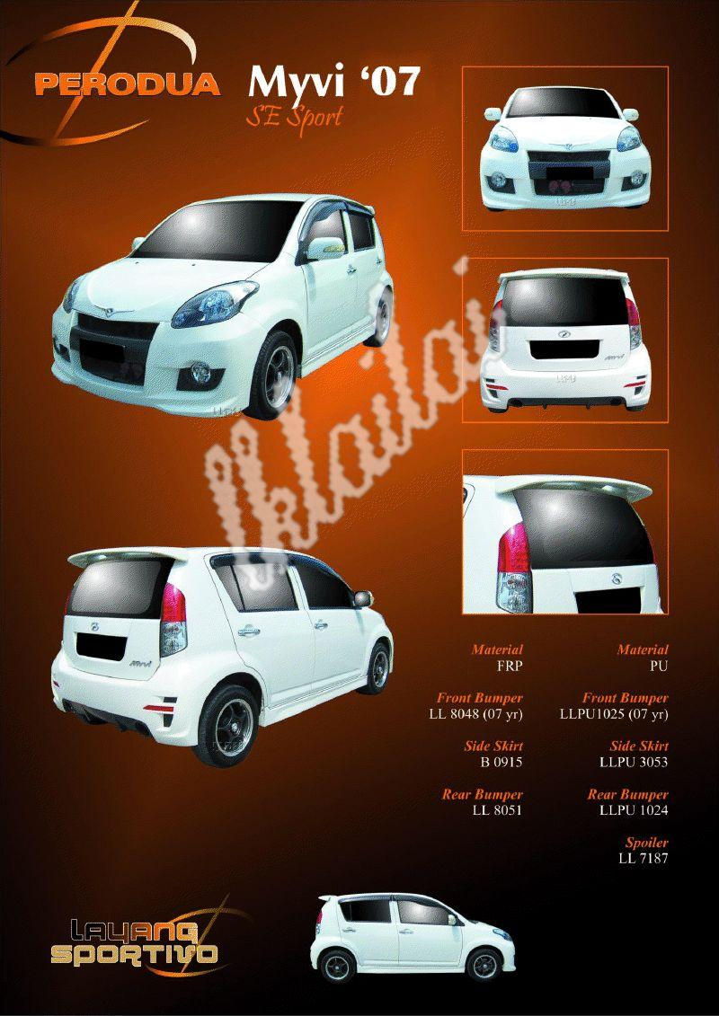 Perodua Myvi '07 SE Sport Body Kit [Option SE Style Tail Lamp+Rm100]