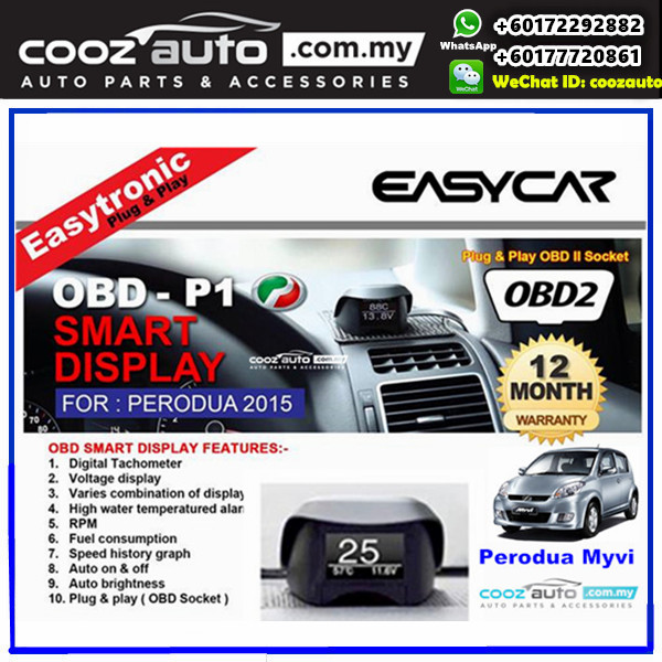 Perodua Myvi 2008 - 2011 Easytronic OBD II Plug &Play Smart Display Monitor