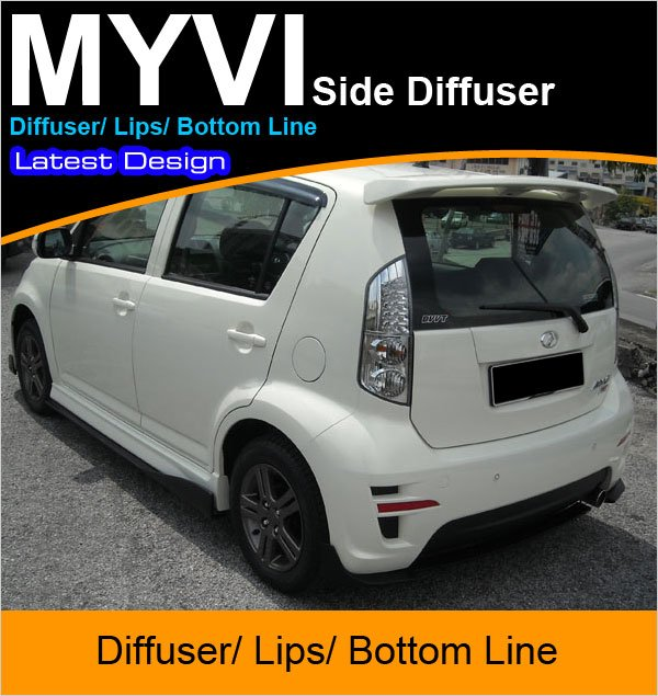 PERODUA MYVI 2009 Latest Design Side Skirt Diffuser Lips Bottom Line