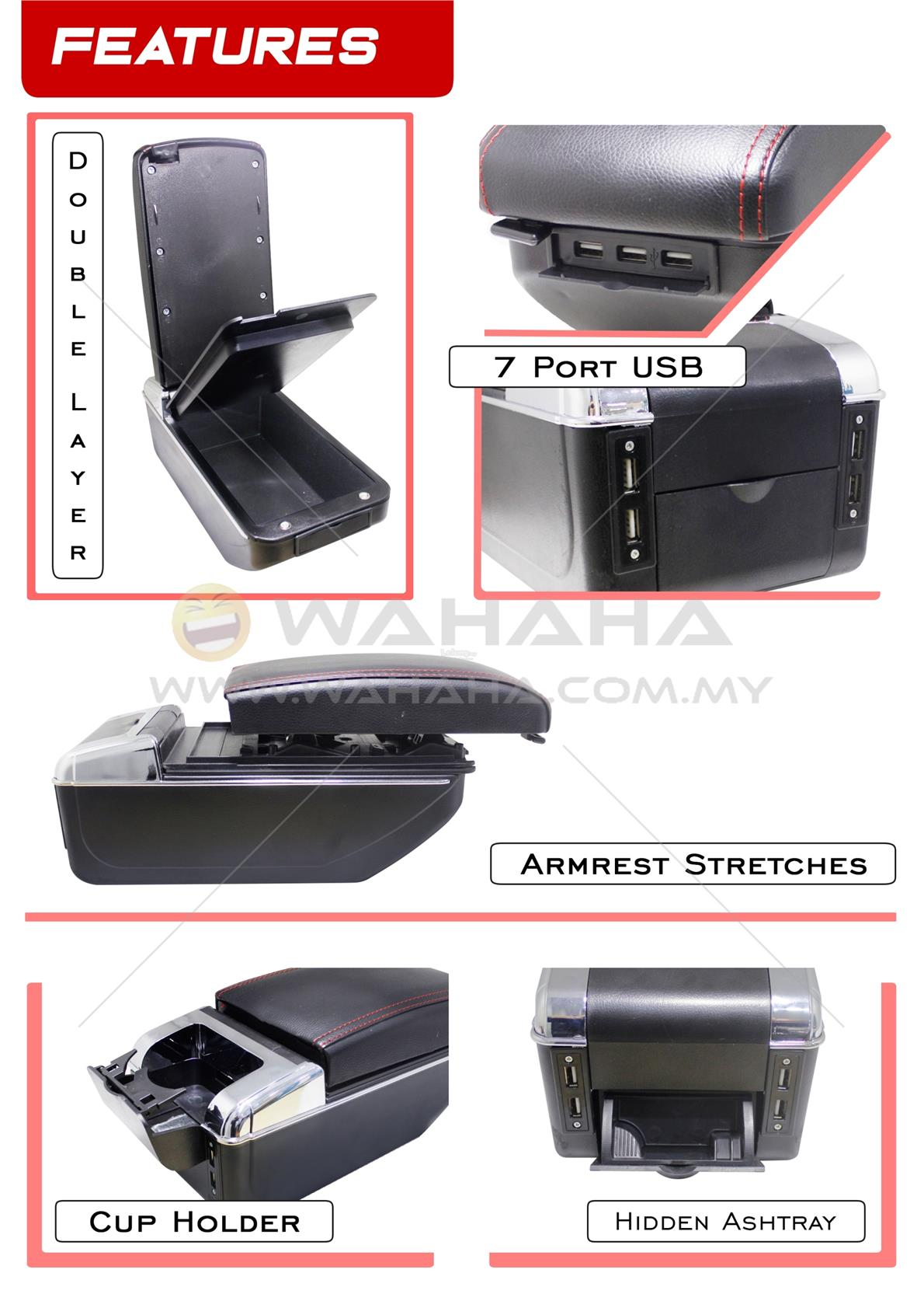 PERODUA MYVI 2018 7 USB Port Double Layer Adjustable PVC Armrest