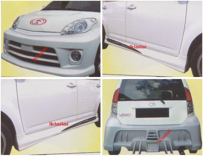 Perodua MYVI CUSTOM [Front + Rear Bumper + Side Skirt] Body Kit FIBER