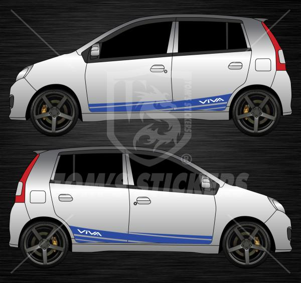 Perodua viva side lower bar stickers a01