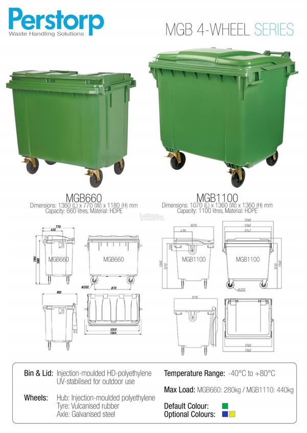 Perstorp 1100L HDPE Four Wheel Mobile Garbage Bin