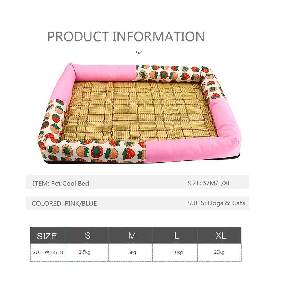 Pet Summer Cool Mat Straw Bamboo Sleeping Bed Comfortable Cushion for