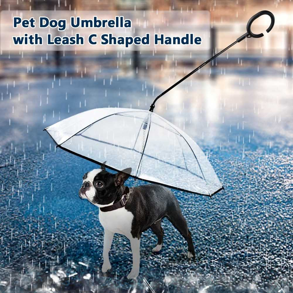 Pet Umbrella - Leash C Shaped Retractable Steering Handle Transparent