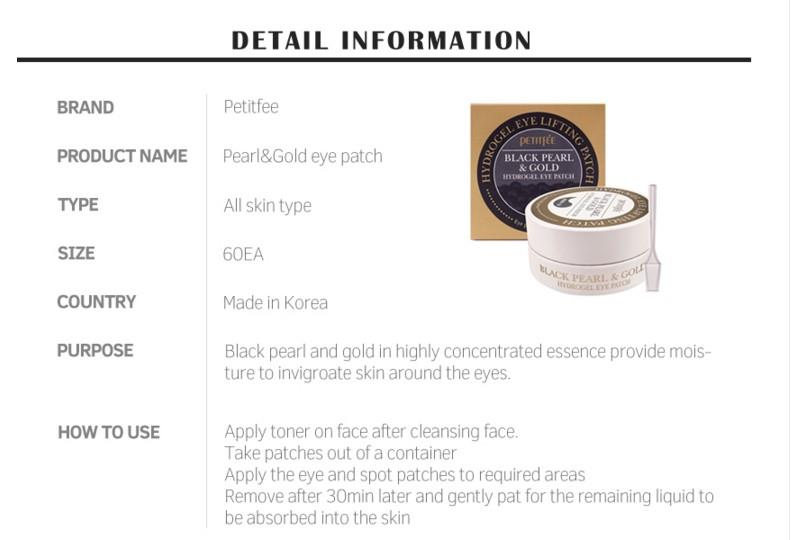 Image result for PETITFEE Black Pearl + Gold Hydrogel Eye Patch