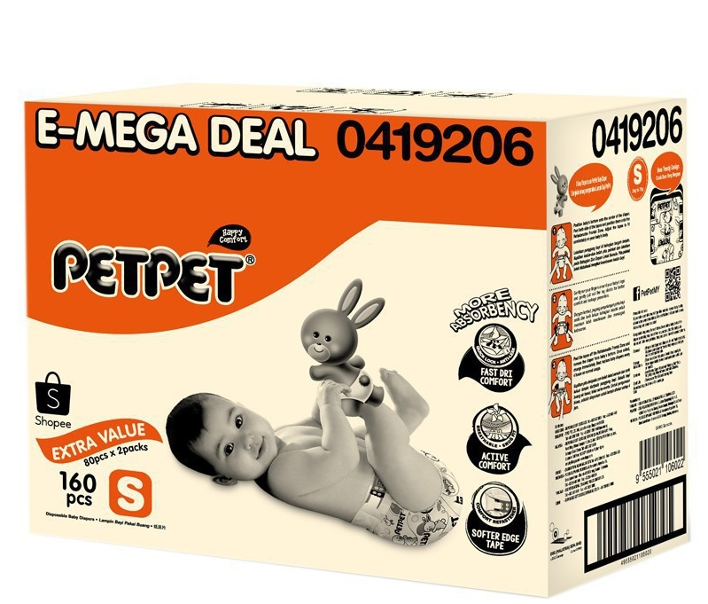 PETPET E-Mega Tape Diaper - S80/M72/L60/XL50 (2 Packs)