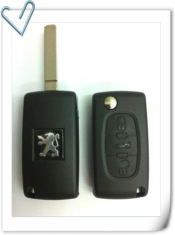PEUGEOT 206 3 BUTTON FLIP KEY SHELL PEU206-3B-FKS