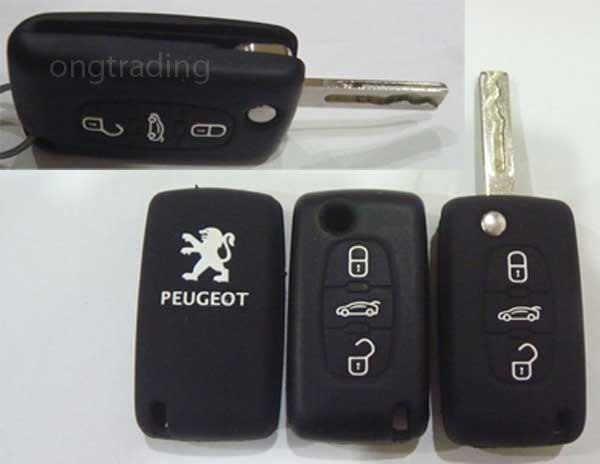 Peugeot 3 Button Silicone Car Key Remote Control Cover (Black)