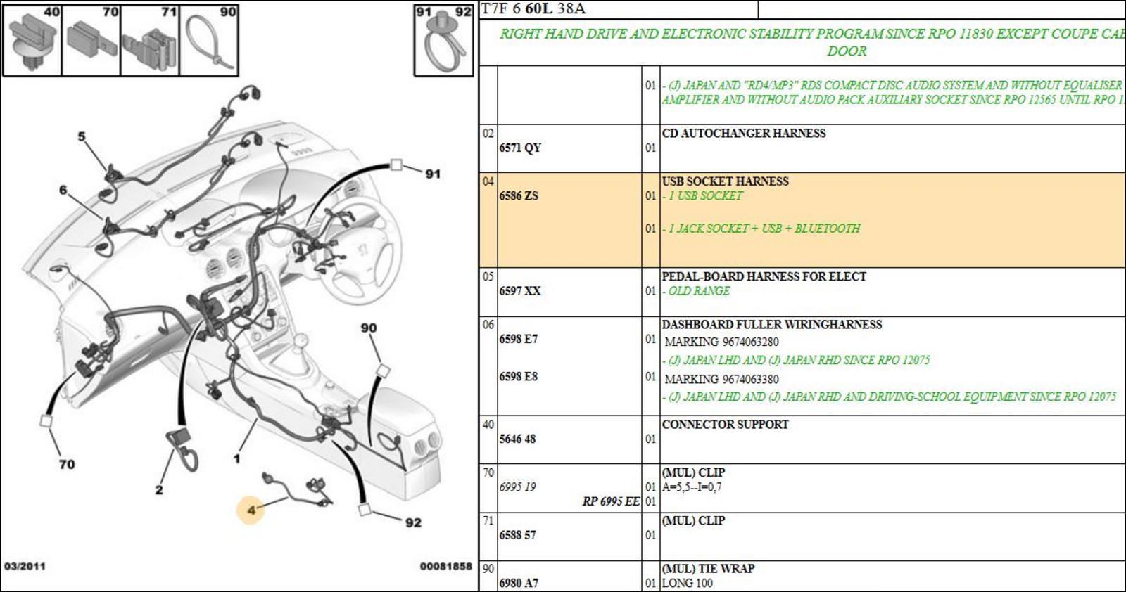 peugeot 308 - usb socket harness